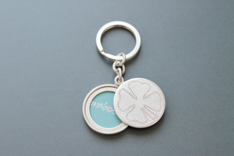 solid silver keyring photo locket with clover leaf