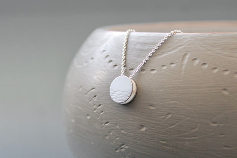 maritime necklace with waves pendant in sterling silver