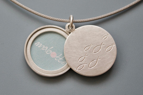 sterling silver locket for one photo with school of fish design