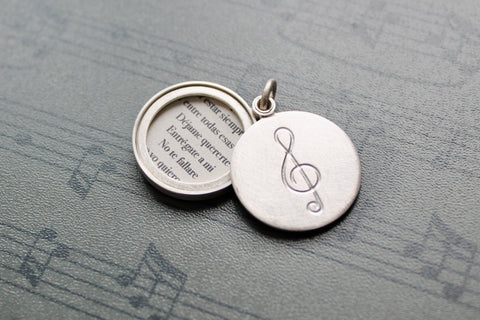 sterling silver photo locket with clef for music lovers