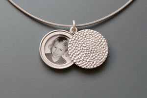 modern locket for one photo in hammered sterling silver