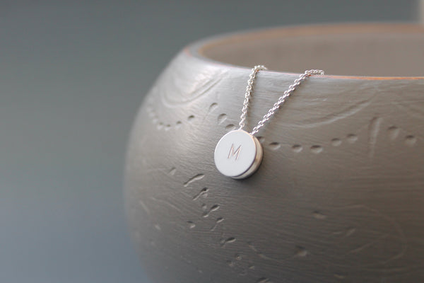 reversible initial pendant necklace in sterling silver