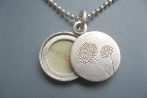 small dandelion locket for one photo handmade in sterling silver