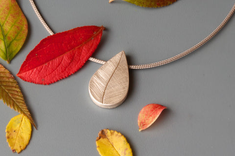 delicate leaf pendant for one photo in sterling silver