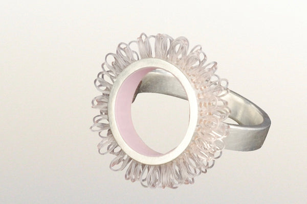 "Ring sterling silver and plastic, Diameter of ring top 21mm, color rose pink, design ""loops in circles"""