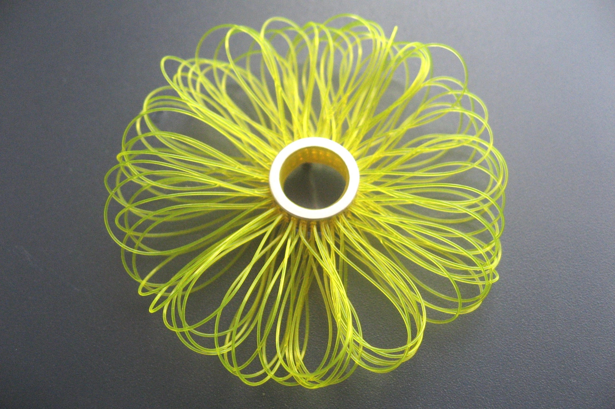 "Brooch, Sterling silver with plastic, diameter 45mm, color neon yellow, design ""big loops"""