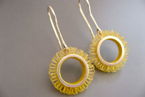 Earrings sterling silver with plastic, diameter of the loop circles 21mm, Length 42mm, color yellow, design loops in circles
