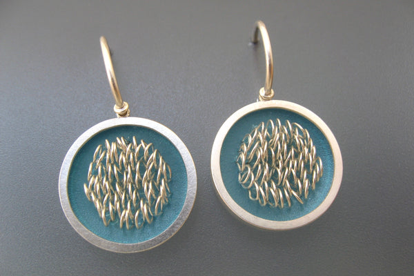 "Earrings sterling silver with polypropylene, Diameter 16mm, Length 27mm, color teal, design ""loops in frames"""