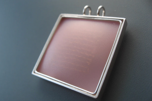 "Pendant sterling silver with polypropylene, square 25mm, color pink, design ""loops in frames"""