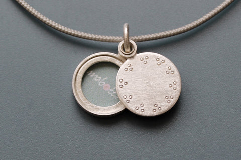 tiny mabotte locket for one photo in sterling silver