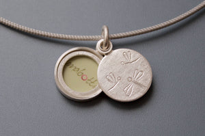 unique small photo locket with dragonflies in sterling silver