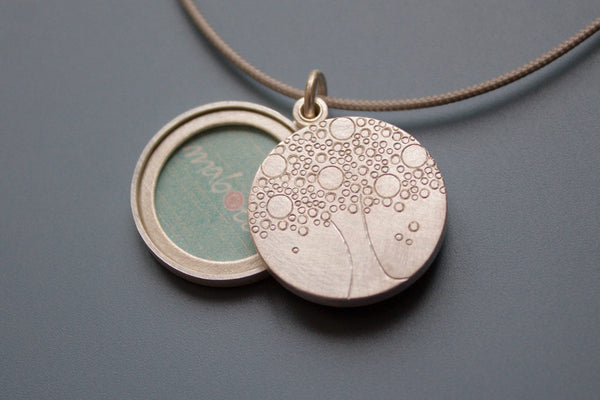 double photo locket with family tree handmade in sterling silver