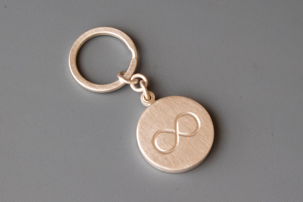 solid sterling silver keychain locket with infinity sign for one photo