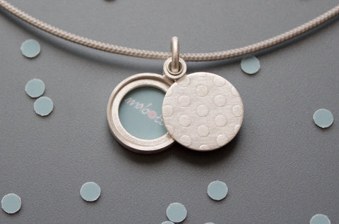 charming photo locket with polka dots in sterling silver