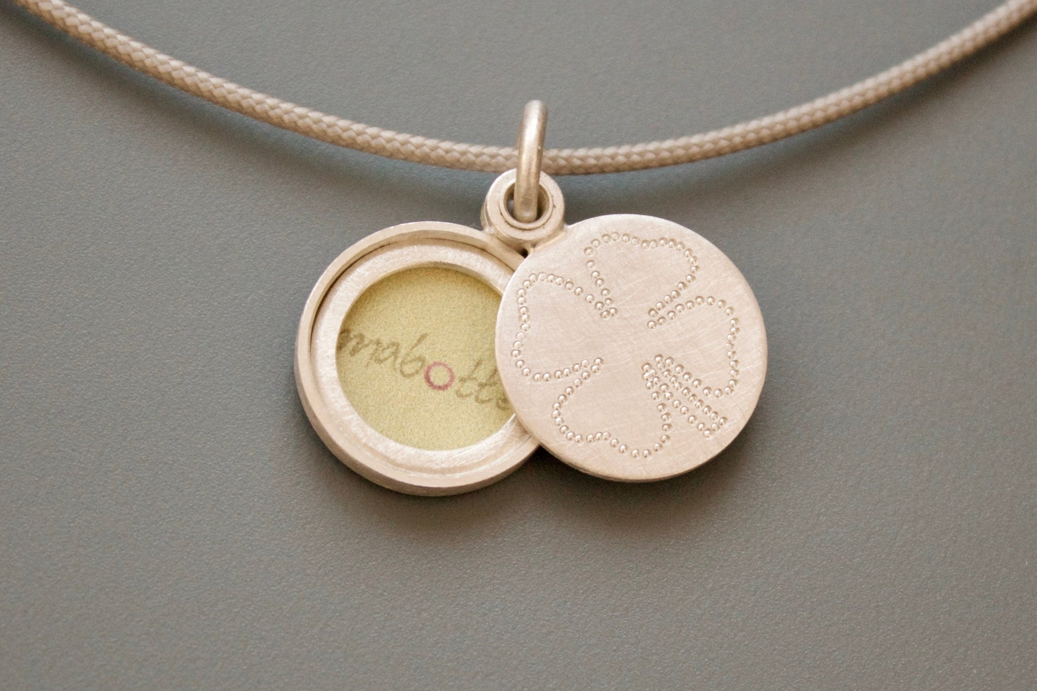 lucky charm photo locket in sterling silver with clover leaf