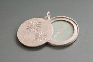 unique sunflower locket in sterling silver for one photo