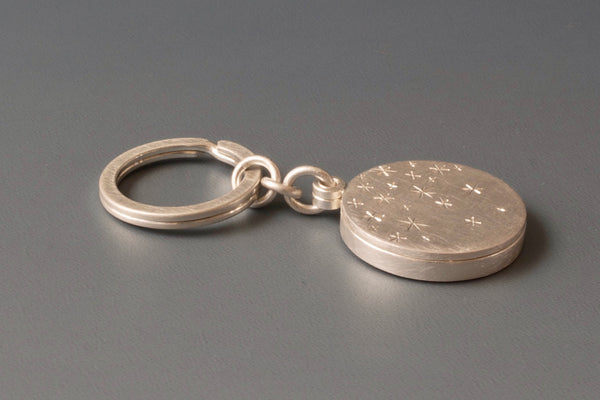 solid silver keychain locket for one picture with starry night design