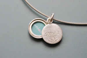 custom made photo locket with your name in sterling silver