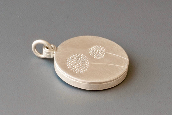 elegant round dandelion locket for one photo in sterling silver