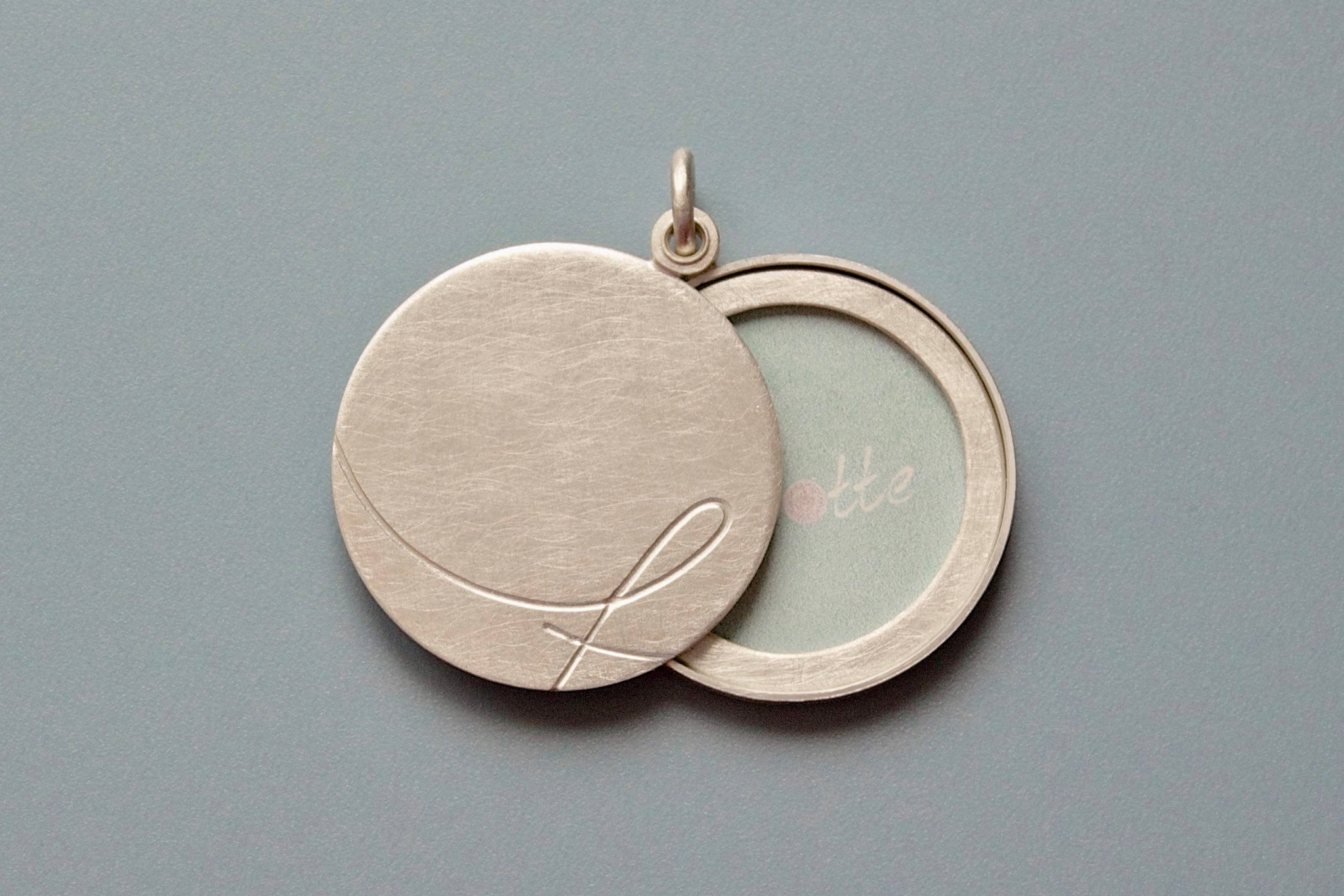 custom initial locket for one large picture in sterling silver