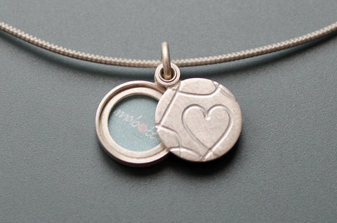 romantic picture locket with elegant heart design handmade in sterling silver