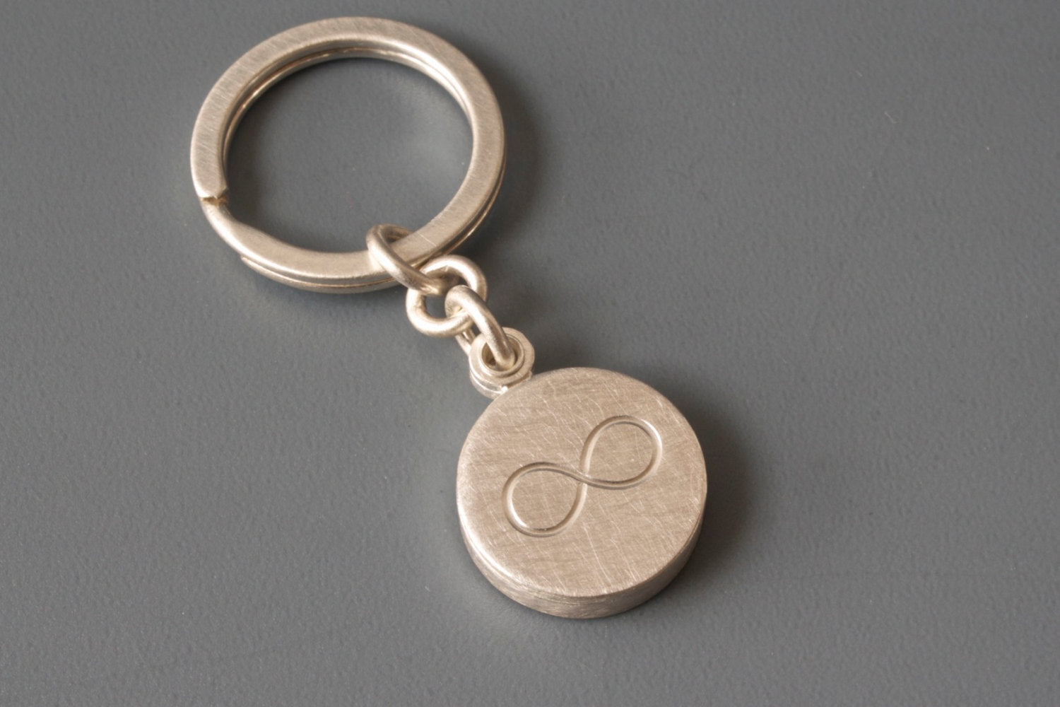 sterling silver keychain photo locket with infinity sign