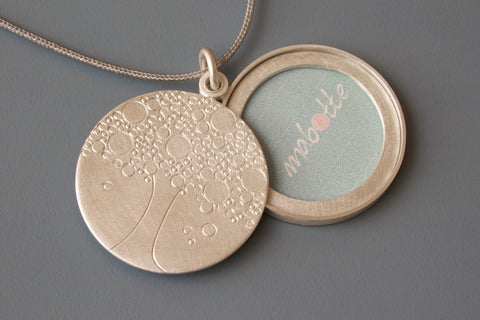 handmade sterling silver picture locket with tree