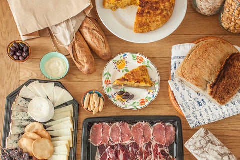 party food brindisa tortilla cheese charcuterie