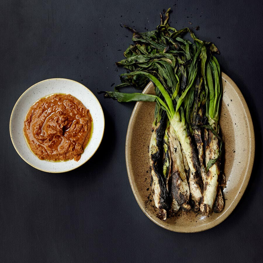 Calcots and Romesco Sauce