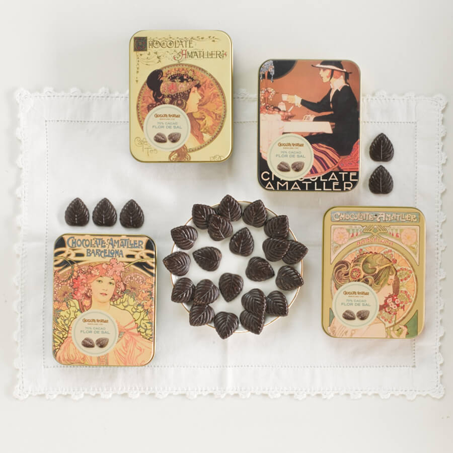 Amatller Salted Dark Chocolate Leaves Brindisa Spanish Foods