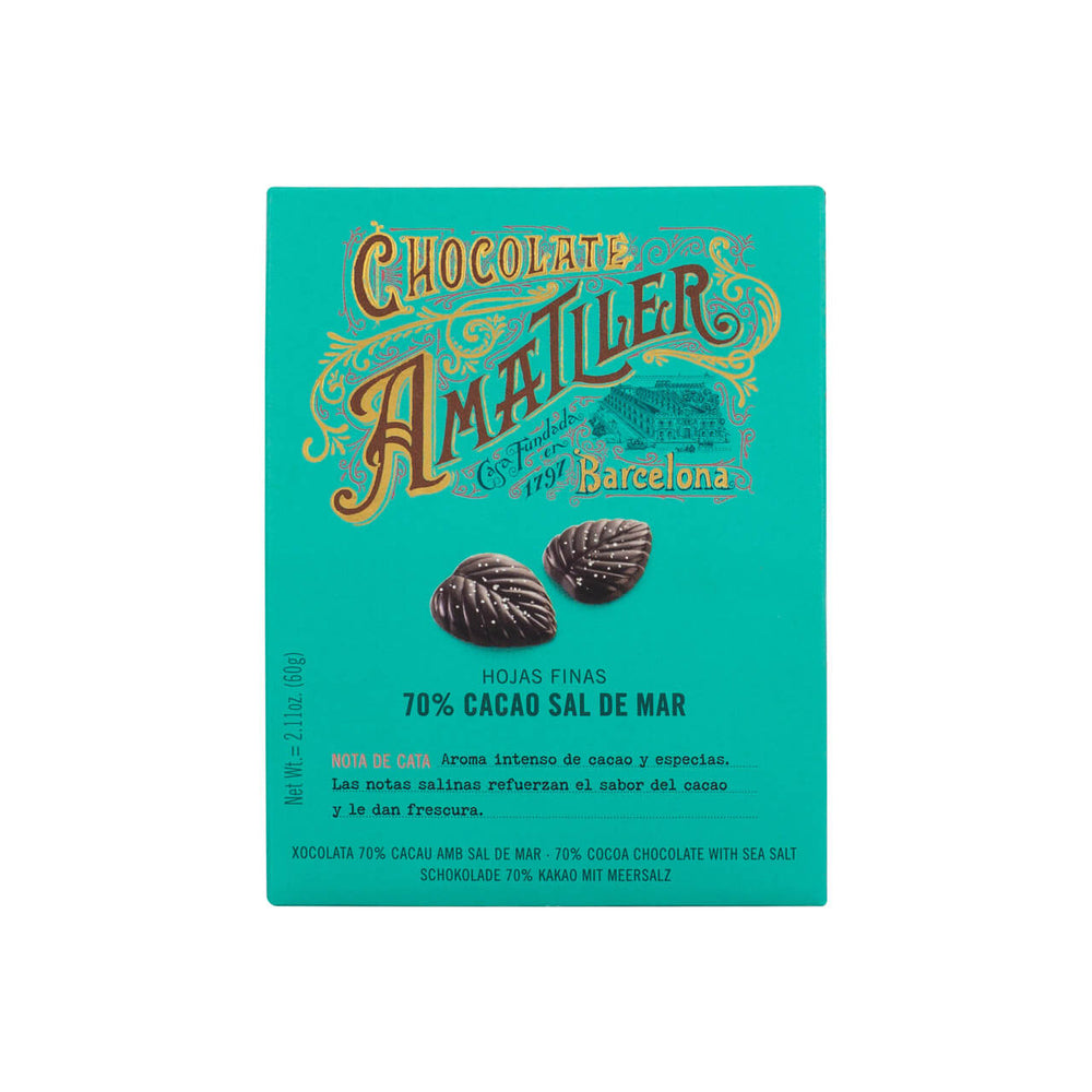 Amatller Salted 70% Dark Chocolate Leaves 60g