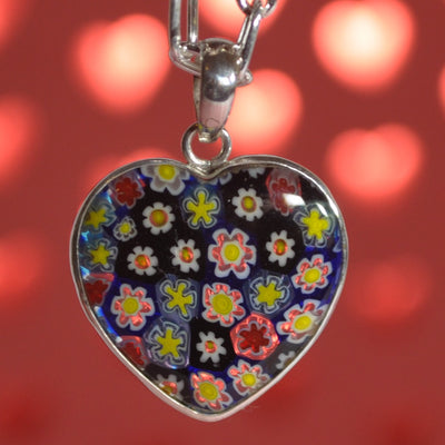 Floral Murano Glass Pendant and Sterling Silver Necklace