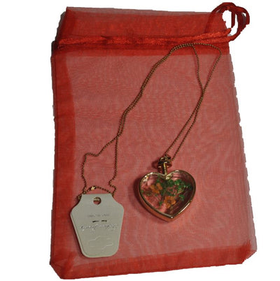 Gold Plated Glass Heart With Dry Flowers Pendant and Necklace