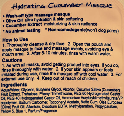 Hydrating Cucumber Masque - 15 Pack