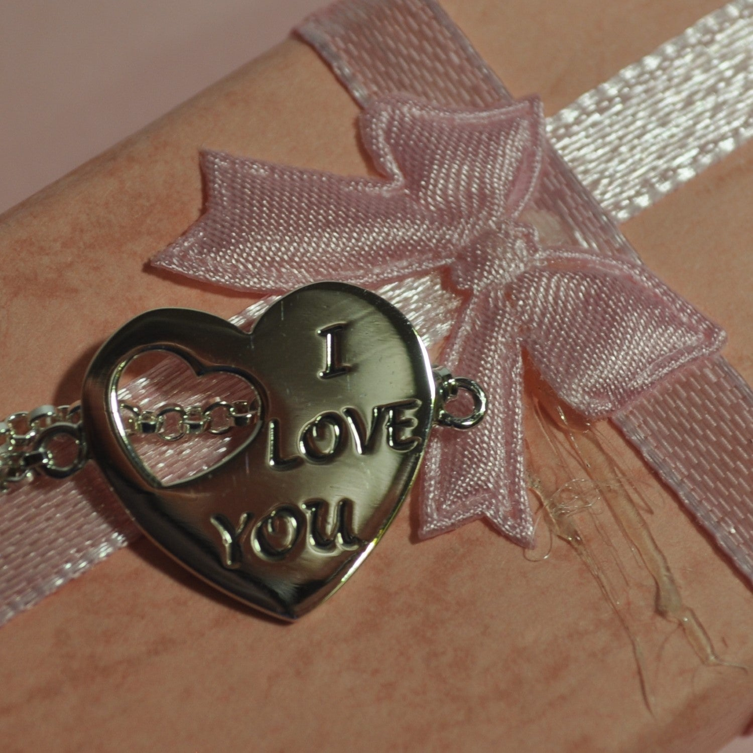 """""""I Love You"""" 925 Sterling Silver Heart Charm Bracelet - Valentines Day Gift"""