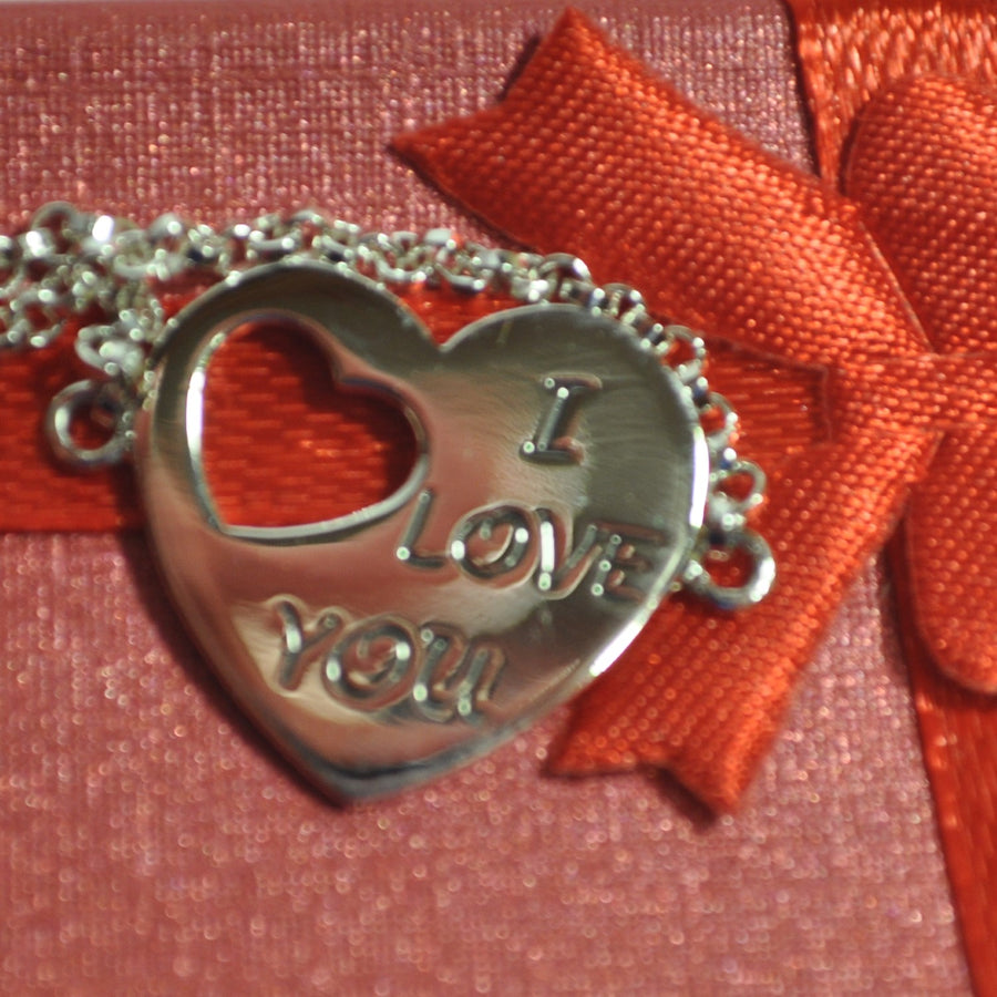 """I Love You"" 925 Sterling Silver Heart Charm Bracelet - Valentines Day Gift"