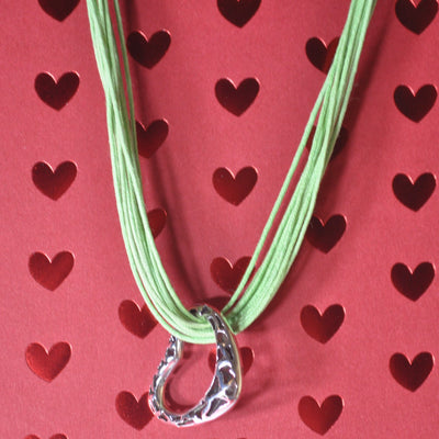 Sterling Silver Open Heart Pendant and Cotton Choker Necklace