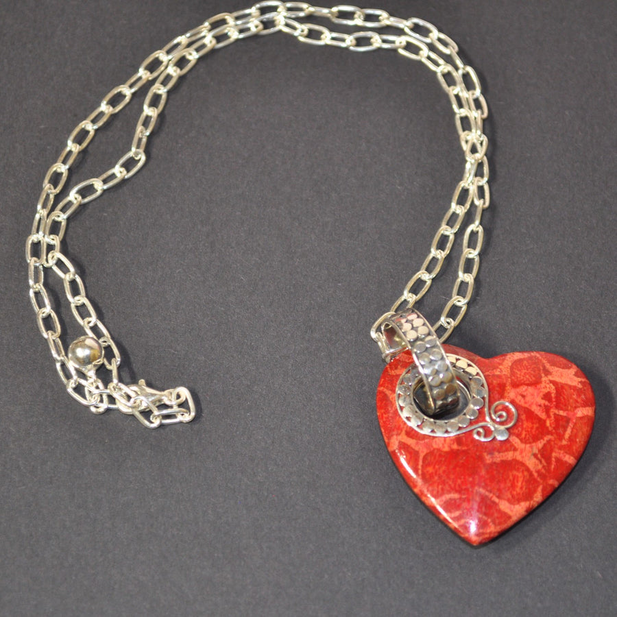 Red Sponge Coral Heart Pendant & Sterling Silver Chain Necklace