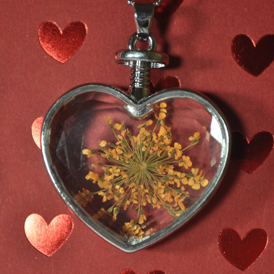 Silver Heart Pendant With Dried Flower Inside and Necklace