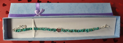 Turquoise Bead Bracelet with Silver Heart Charm