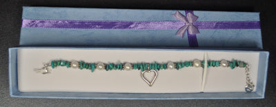 Turquoise Bead and Pearl Bracelet with Silver Heart Charm