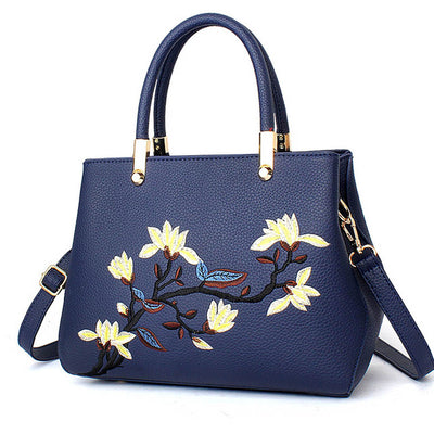 Top Handle Floral Embroidered Hand Bag