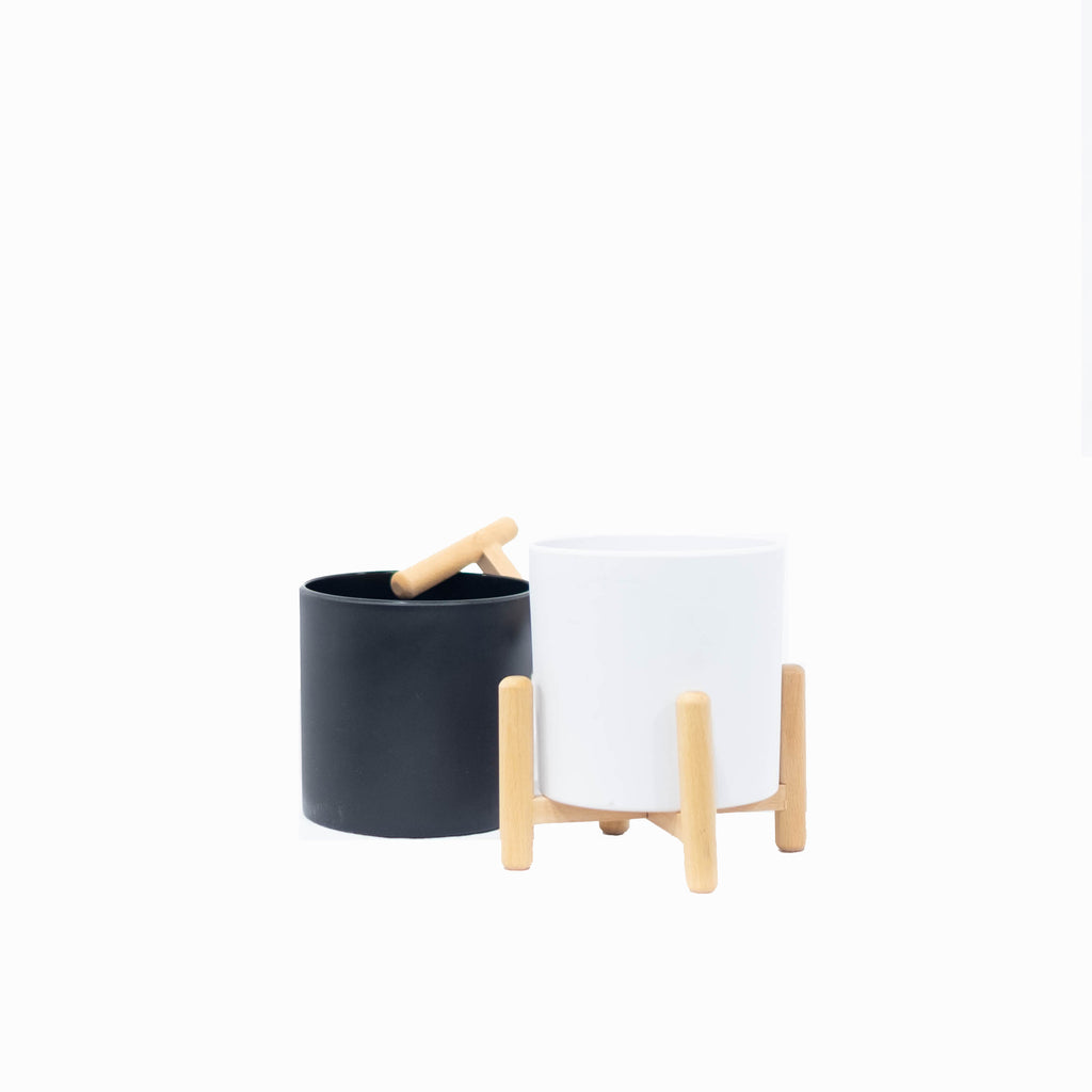 MIMI Planters with Wooden Legs (Set of 2)