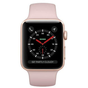 Refurbished Apple Watch (Series 3) - 38mm Gold Aluminum, Pink Sand Sport Band (GPS + Cell)