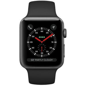 Refurbished Apple Watch (Series 3) - 42mm Space Gray Aluminum, Black Sport Band (GPS + Cellular)