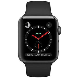 Refurbished Apple Watch (Series 3) - 42mm Space Gray Black Stainless Steel, Black Sport Band (GPS + Cell)