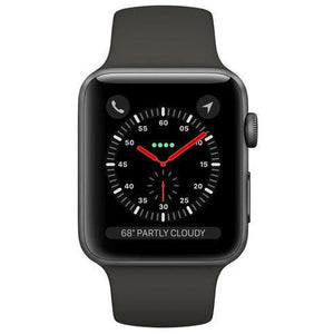 Refurbished Apple Watch  Series 3 Aluminum 42mm Sport Band GPS + Cellular (Space Gray face/Gray band)