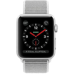 Refurbished Apple Watch (Series 3) Aluminum 42mm Sport Band GPS + Cellular (Silver face/Seashell band)