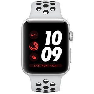 Refurbished Apple Watch (Series 3) Aluminum 42mm Nike Sport Band GPS + Cellular (Silver face/Pure Platinum/Black)