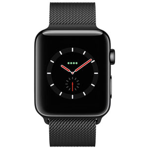 Refurbished Apple Watch (Series 3) Space Black Stainless Steel Case with Space Black Milanese Loop  42mm GPS + Cellular